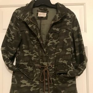 Belted Camo Jacket with Hood